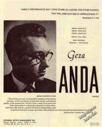 Geza Anda Photo Pianist Booking (1959)