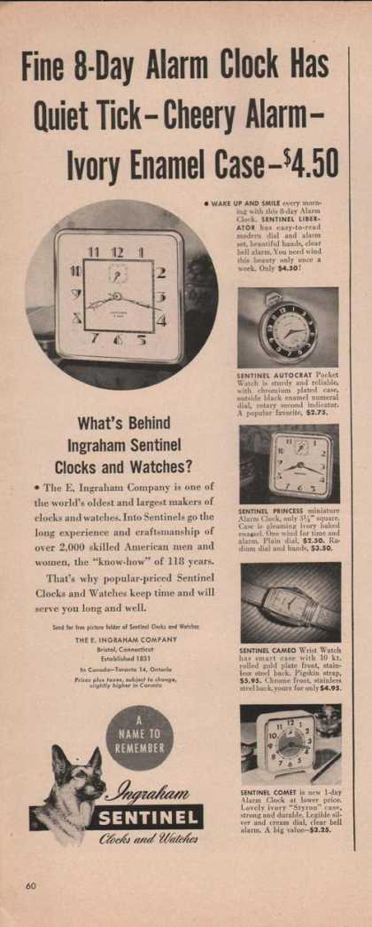 Ingraham Sentinel Clocks & Watches Print A (1949)