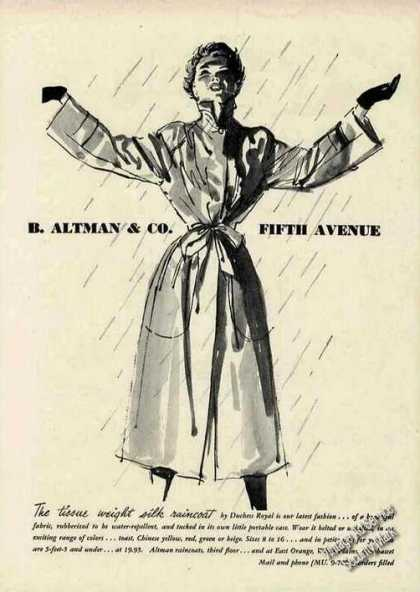 "B Altman Ad ""Tissue Weight Silk Raincoat"" Art (1950)"