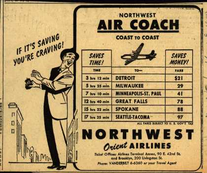 Northwest Airline's Air Coach coast-to-coast – NORTHWEST AIR COACH COAST TO COAST (1950)