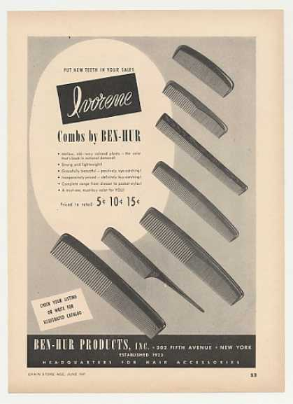 Ben-Hur Ivorene Hair Combs (1947)