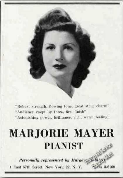 Marjorie Mayer Photo Pianist Booking (1944)