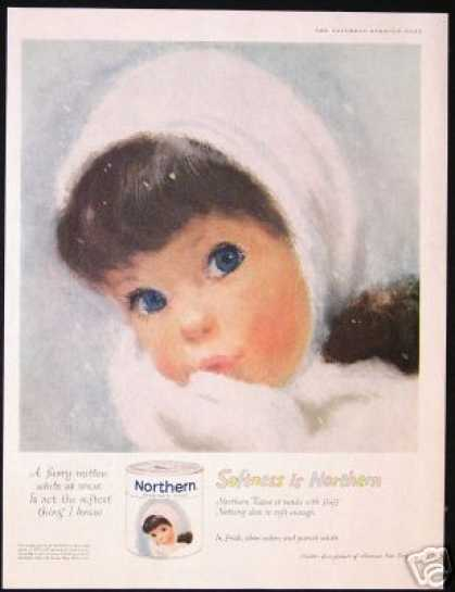Blue Eyed Girl Snow Northern Tissue Vintage (1960)