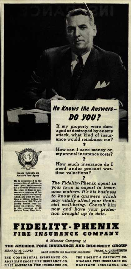 Fidelity-Phenix Fire Insurance Company's 3rd War Loan – He Knows The Answers-Do You? (1943)