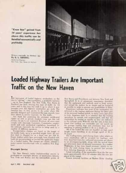 """Highway Trailers Important On New Haven"" Article (1952)"