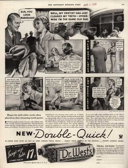 Western Company's Dr. West's Tooth Paste – New-Double-Quick (1934)