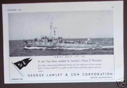 Lawley 173' Pc Navy Ship Original Photo (1942)