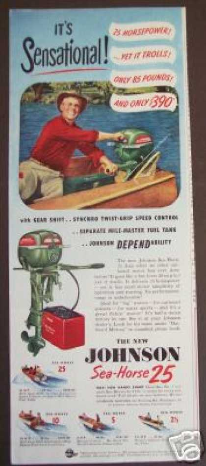 New Johnson 25 Outboard Boat Motor (1941)