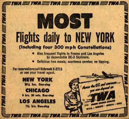 Trans World Airline – Most Flights daily to new York (1948)
