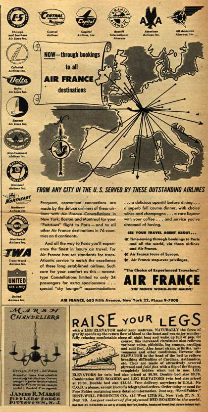 Air France – Now- through bookings to all Air France destinations (1951)