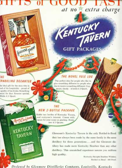 Kentucky Tavern Bourbon Whiskey C Ad Gift Packages (1950)