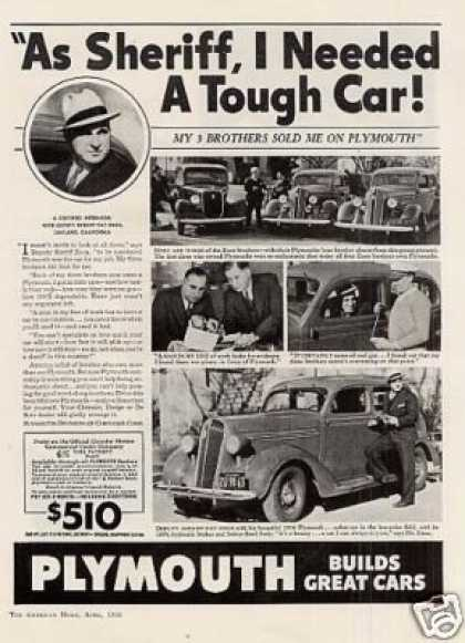 "Plymouth Car Ad ""As Sheriff... (1936)"