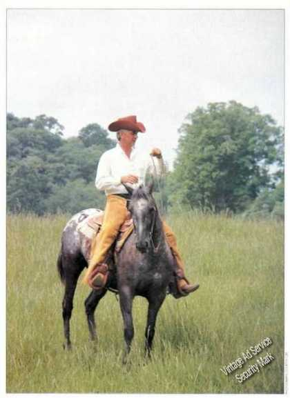 Carl Smith On Horseback Nice Magazine Picture (1985)
