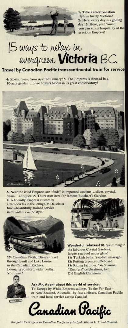 Canadian Pacific's Victoria, B.C. – 15 ways to relax in evergreen Victoria B.C. (1952)