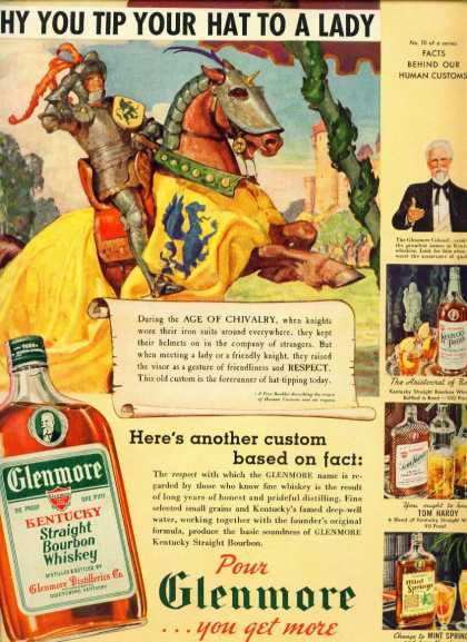 Glenmore Bourbon Whiskey Ad Why You Tip Your Hat (1939)