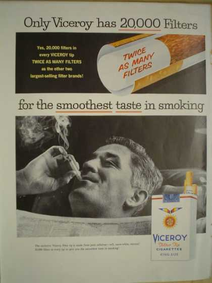 Viceroy filter cigarettes Only Viceroy has 20,000 filters (1956)