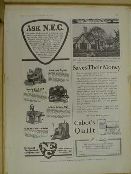 National Equipment Corp AND Cabot's quilt (1930)