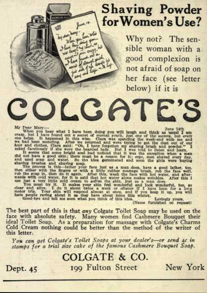 Colgate &amp; Company&#8217;s Colgate&#8217;s Shaving Powder &#8211; Shaving Powder for Women&#8217;s Use? (1914)