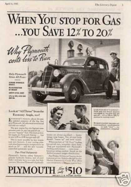 Plymouth Car Ad 'when You Stop For... (1935)