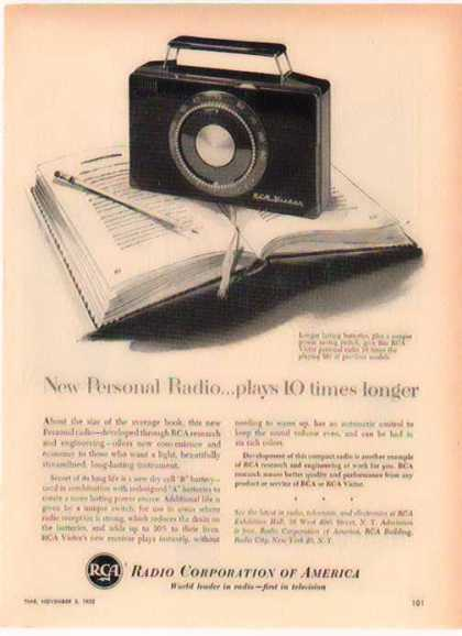 RCA Victor Personal Radio – Plays 10 times longer – Sold (1952)