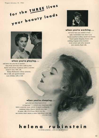 Helena Rubinstein's Various – For the Three lives your beauty leads (1943)