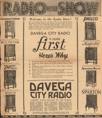 Davega-City Radio's Radios – 1933 Radio Show, Welcome to the Radio Show! Davega City Radio is Again First. Here's Why. (1932)