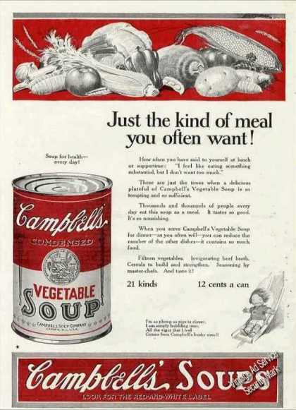 "Campbell's Vegetable Soup ""Meal You Often Want"" (1924)"