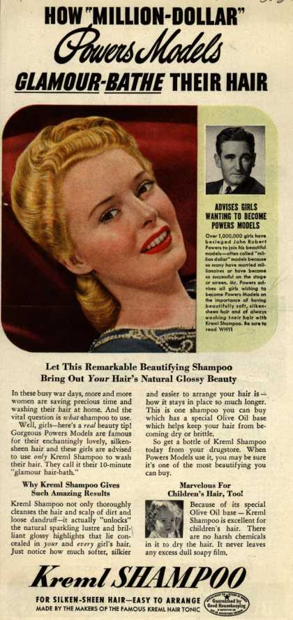 "Kreml's shampoo – HOW ""MILLION-DOLLAR"" Powers Models GLAMOUR-BATHE THEIR HAIR (1943)"