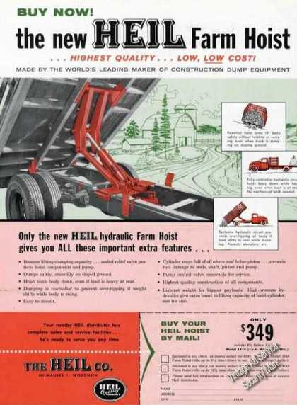 Heil Hydraulic Farm Hoists Milwaukee Wi (1958)