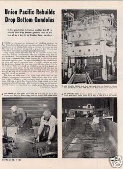 """U.p. Rebuilds Drop Bottom Gondolas"" Article (1950)"