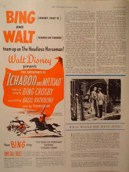 Movie Walt Disney Ichabod, Mr Toad Bing Crosby (1949)