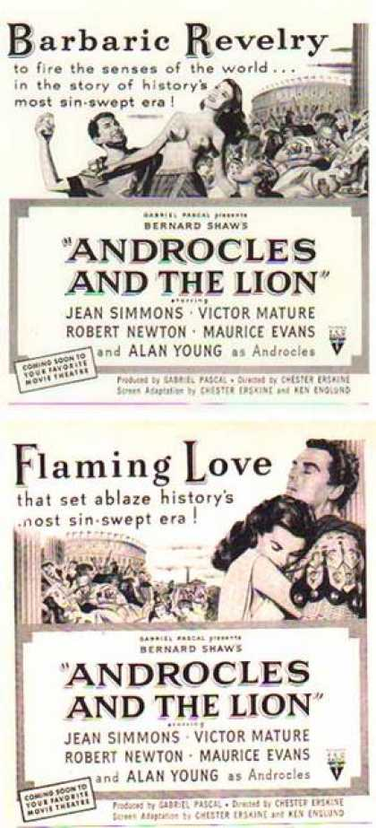 Androcles And The Lion Movie Ads – Set of Two – Jean Simmons (1952)