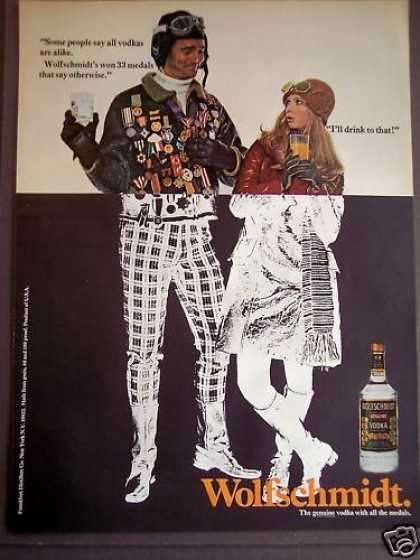 Couple Drinking Wolfschmidt Vodka (1970)