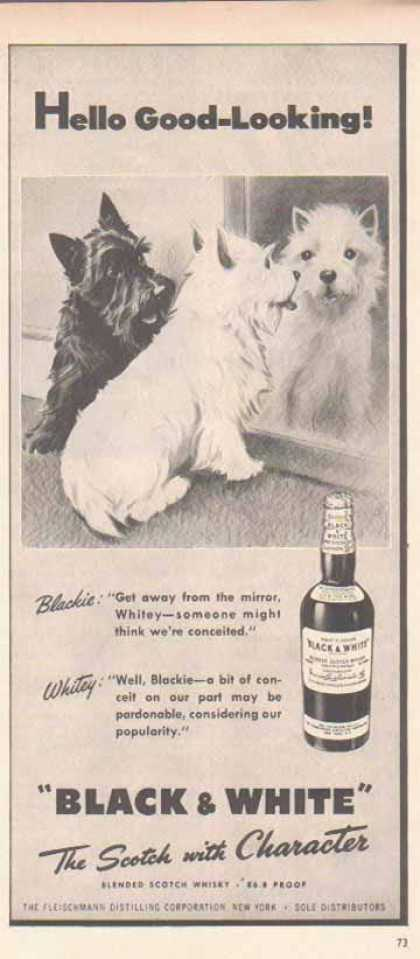 Black & White Scotch Whiskey Scottish Terriers – At the Mirror… (1948)