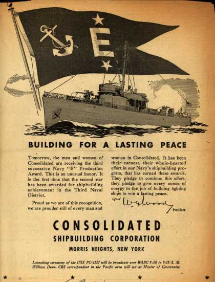 "Consolidated Shipbuilding Corp.'s Navy ""E"" – Building For A Lasting Peace (1943)"