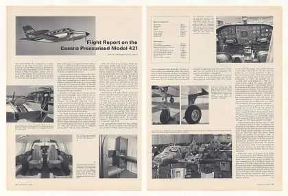 Cessna Model 421 Flight Report 2-Pg Photo Article (1968)