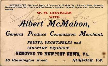 W. M. Charles, Albert McMahon General Produce Commission Merchant's fruits, vegetables and country produce – Albert McMahon