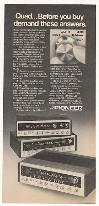 Pioneer QX-949 QX-747 QX-646 Quad Stereo (1974)