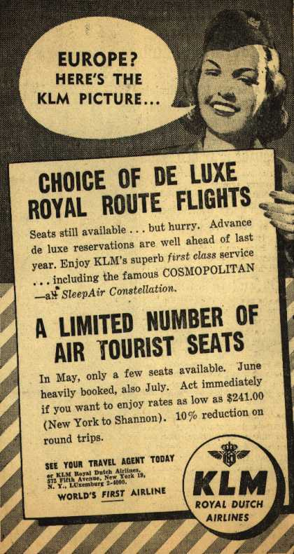 KLM Royal Dutch Airline's Europe – Europe? Here's The KLM Picture... (1952)