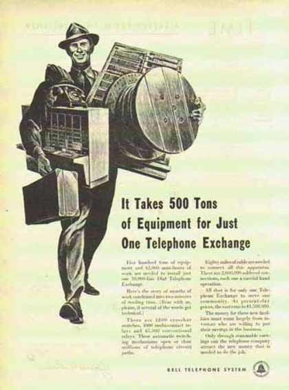 Bell Telephone System – 500 tons of equipment (1951)