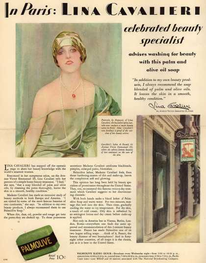 Palmolive Company's Palmolive Soap – In Paris: Lina Cavalieri celebrated beauty specialist (1929)