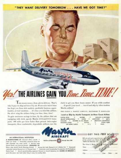 Martin Aircraft 2-0-2 Airlines Gain Time Promo (1947)