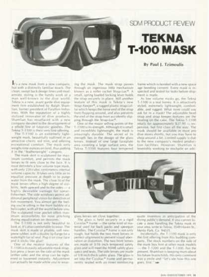 Tekna T-100 Scuba Diving Mask Product Review (1976)