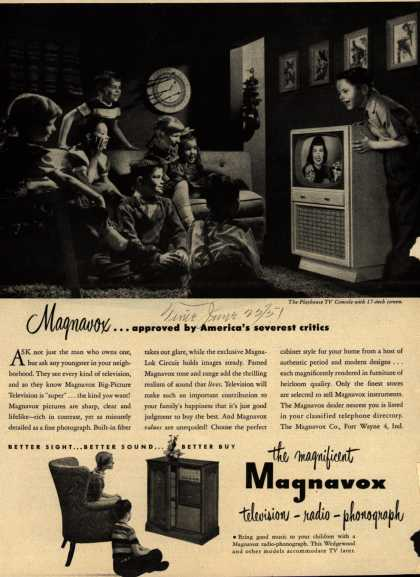 Magnavox Company's Magnavox Big Picture Television – Magnavox... approved by America's severest critics (1951)