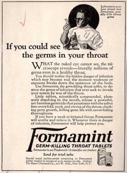 Bauer Chemical Company, Incorporated's Formamint – If you could see the germs in your throat (1923)