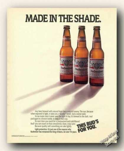 Budweiser Beer Made In the Shade Advertising (1988)