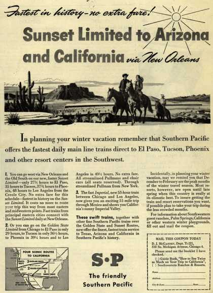 Southern Pacific's Arizona and California – Fastest in history- no extra fare (1946)