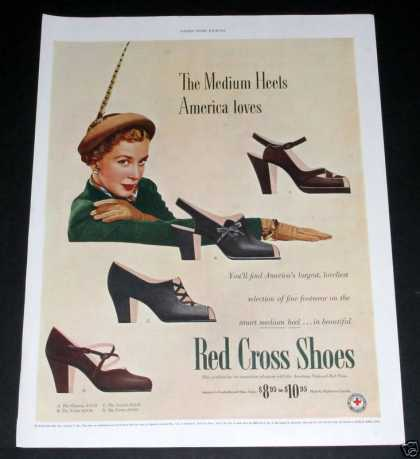Old , Red Cross Shoes, Med Heels (1949)
