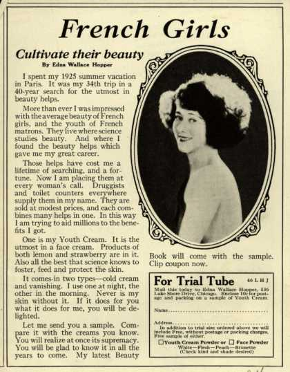 Edna Wallace Hopper's Youth Cream – French Girls Cultivate their beauty (1926)