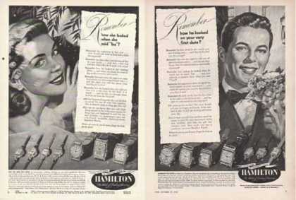 Hamilton Watch Ads – Man and Woman – Set of Two (1949)